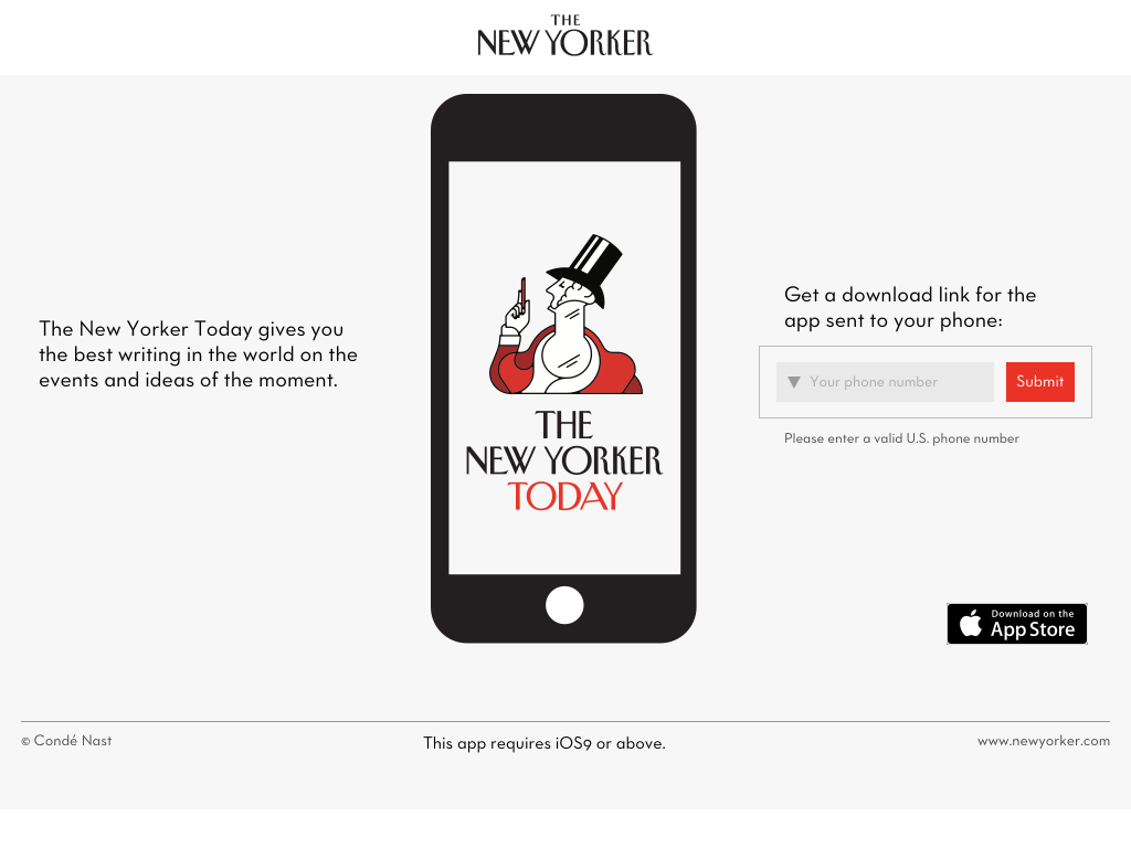 A screenshot of The New Yorker Today promotional website.