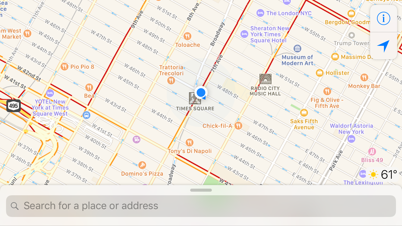 A screenshot of the Apple Maps app with the current location set to Times Square.
