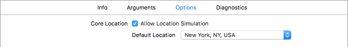 A screenshot of Xcode's scheme editor displaying the Core Location options simulating a location of NYC.