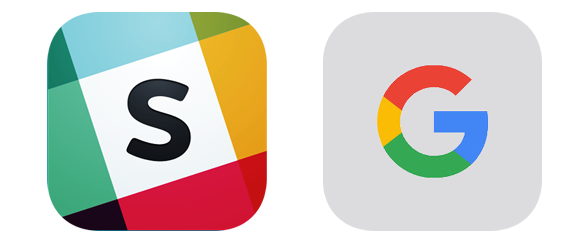 Icons for Slack and Google.
