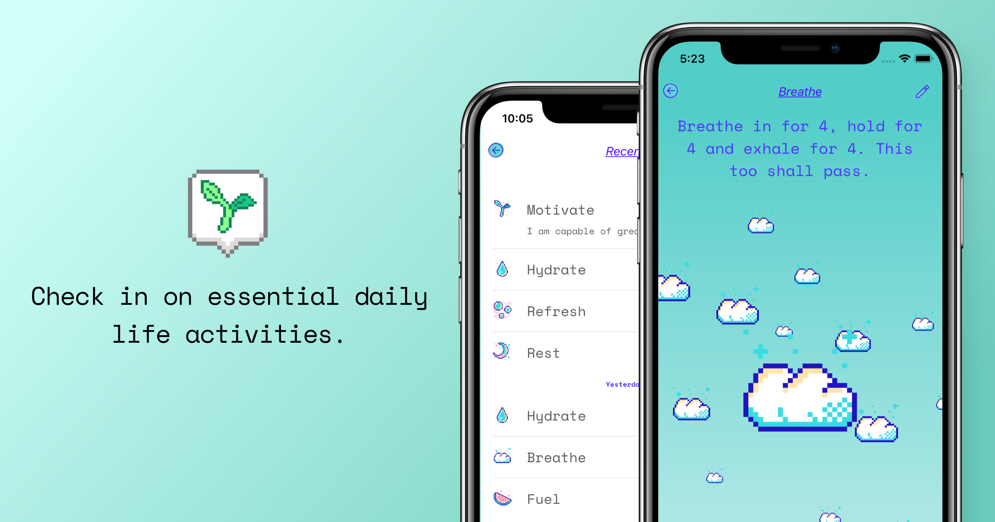 "App Store artwork featuring Aloe Bud, a self-care pocket companion, with text saying ""Check in on essential daily life activities."""