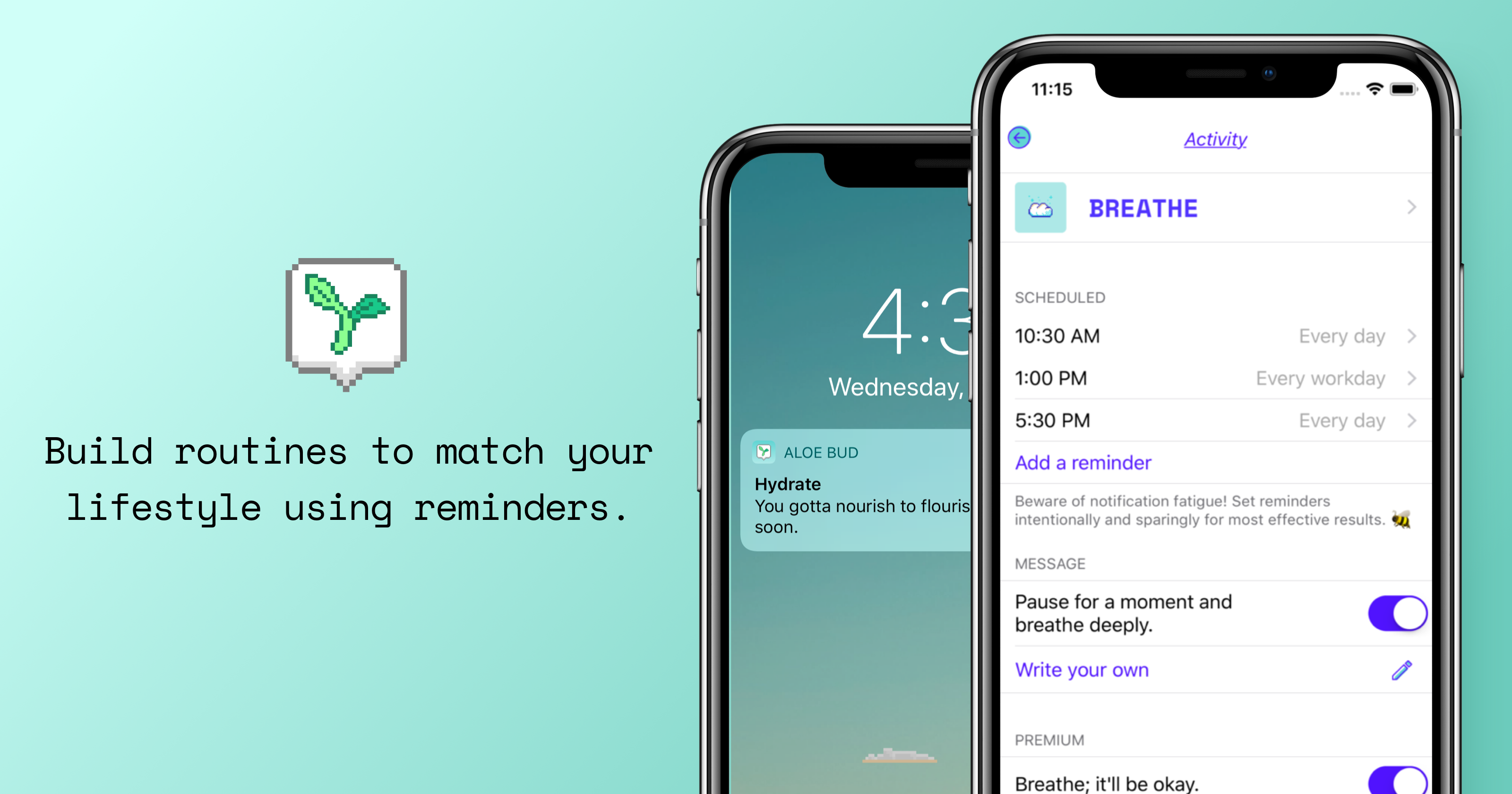 "App Store artwork featuring Aloe Bud, a self-care pocket companion, with text saying ""Build routines to match your lifestyle using reminders."""