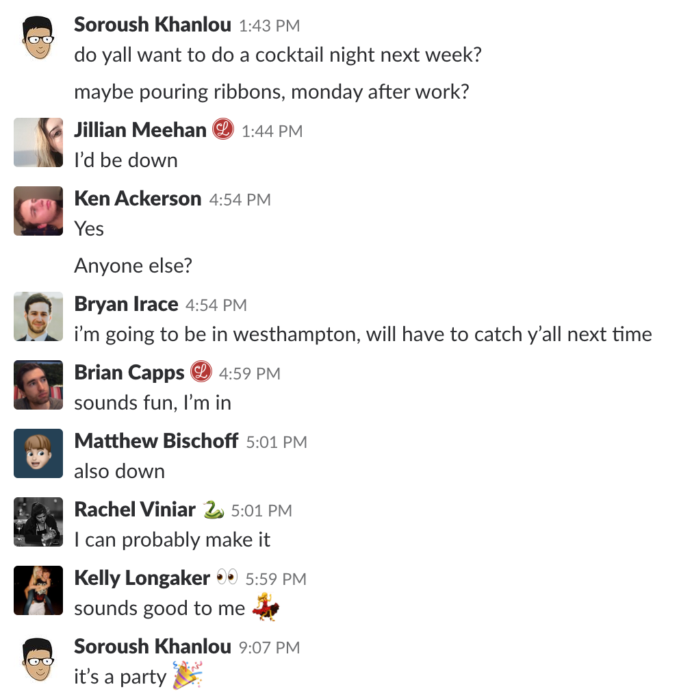 A screenshot of our Slack planning a cocktail night together.