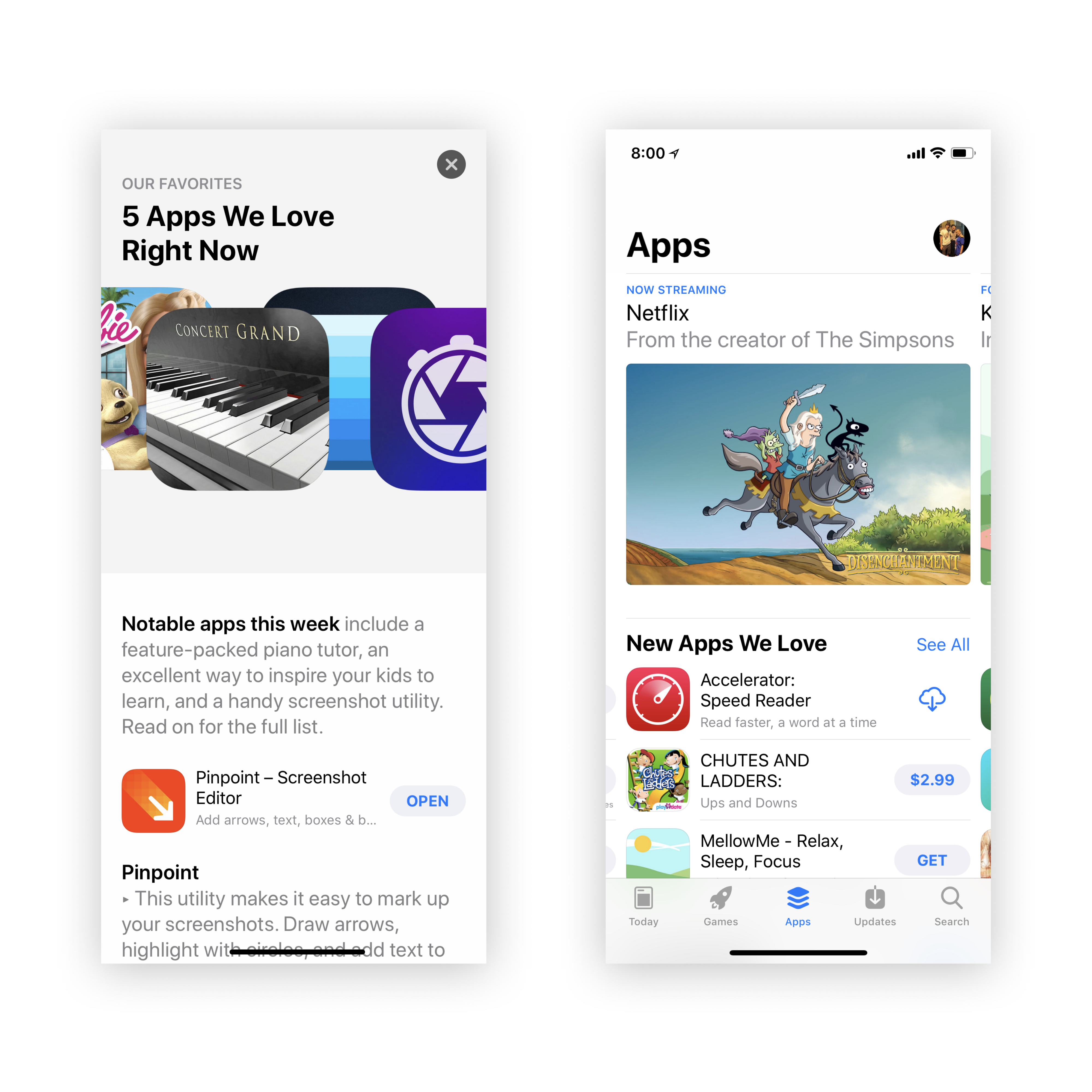 Two screenshots of the App Store showing Pinpoint and Accelerator featured by Apple.