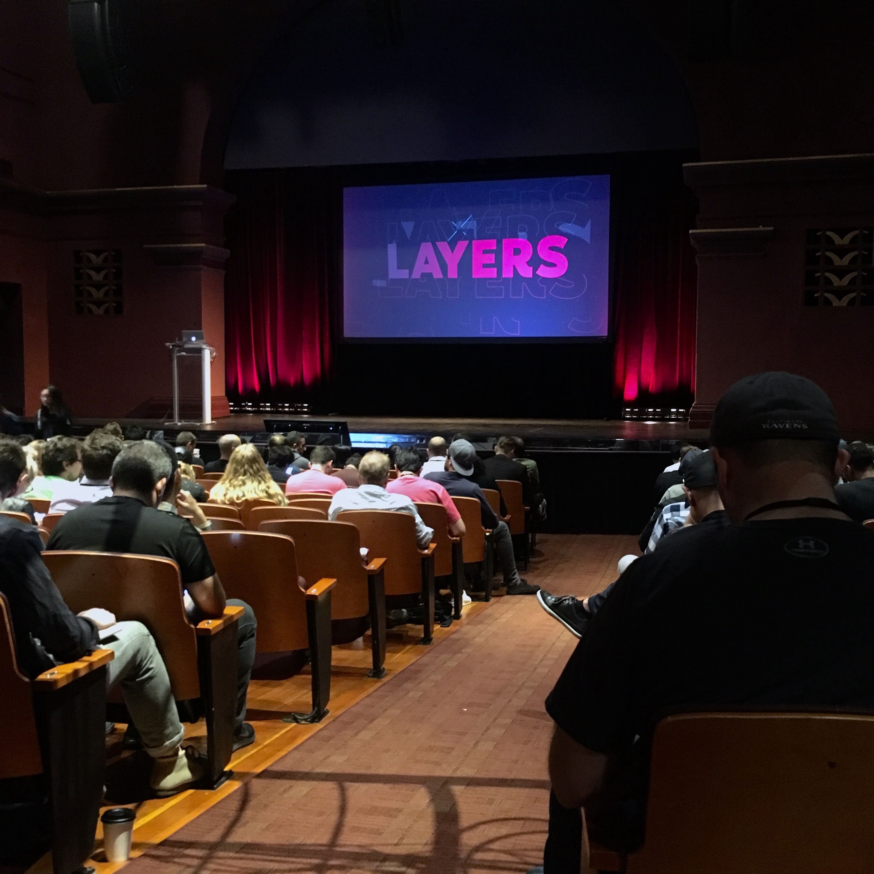 A photo of the Layers auditorium from 2018.