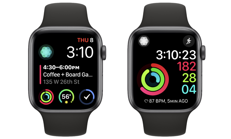 Two screenshots of Jillian's Apple Watch.