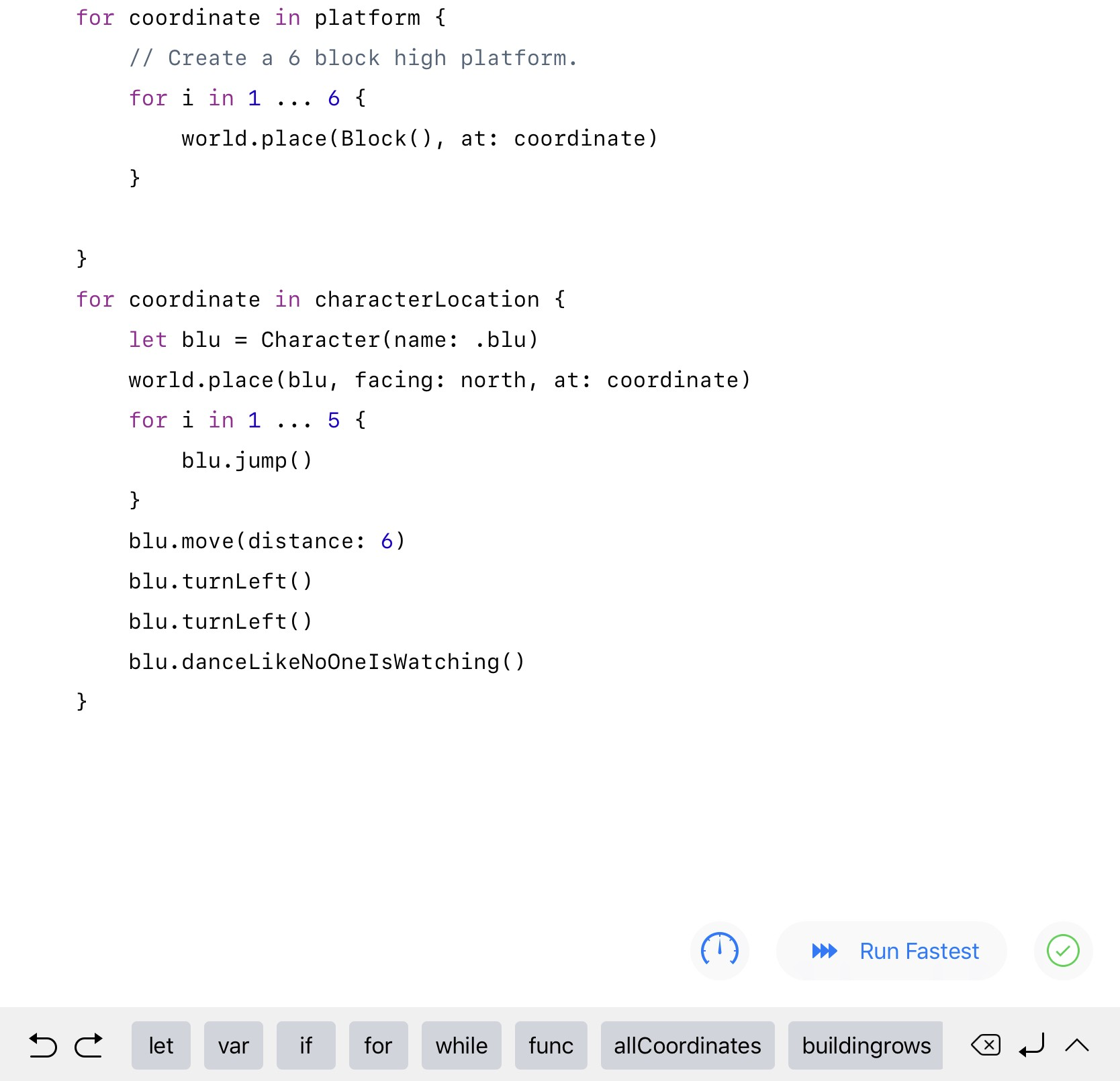 A screenshot of code in the Swift Playgrounds app.