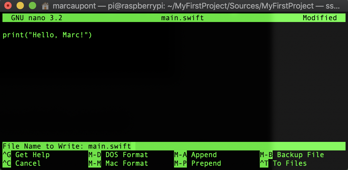 A screenshot of the terminal performing the above command.