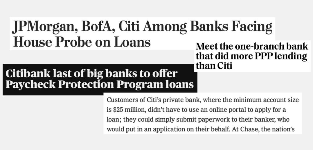 News headlines about Citibank prioritizing big businesses for PPP loans.