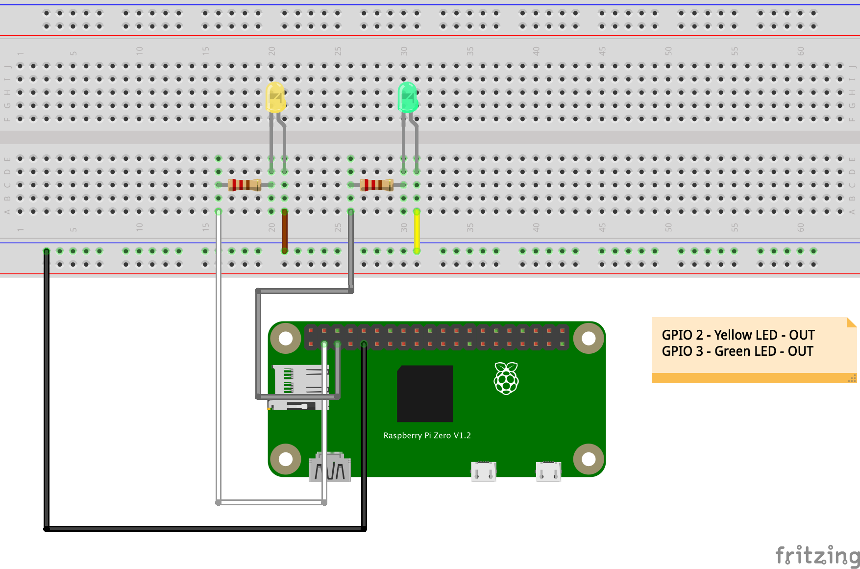 A second LED connected to a Raspberry Pi