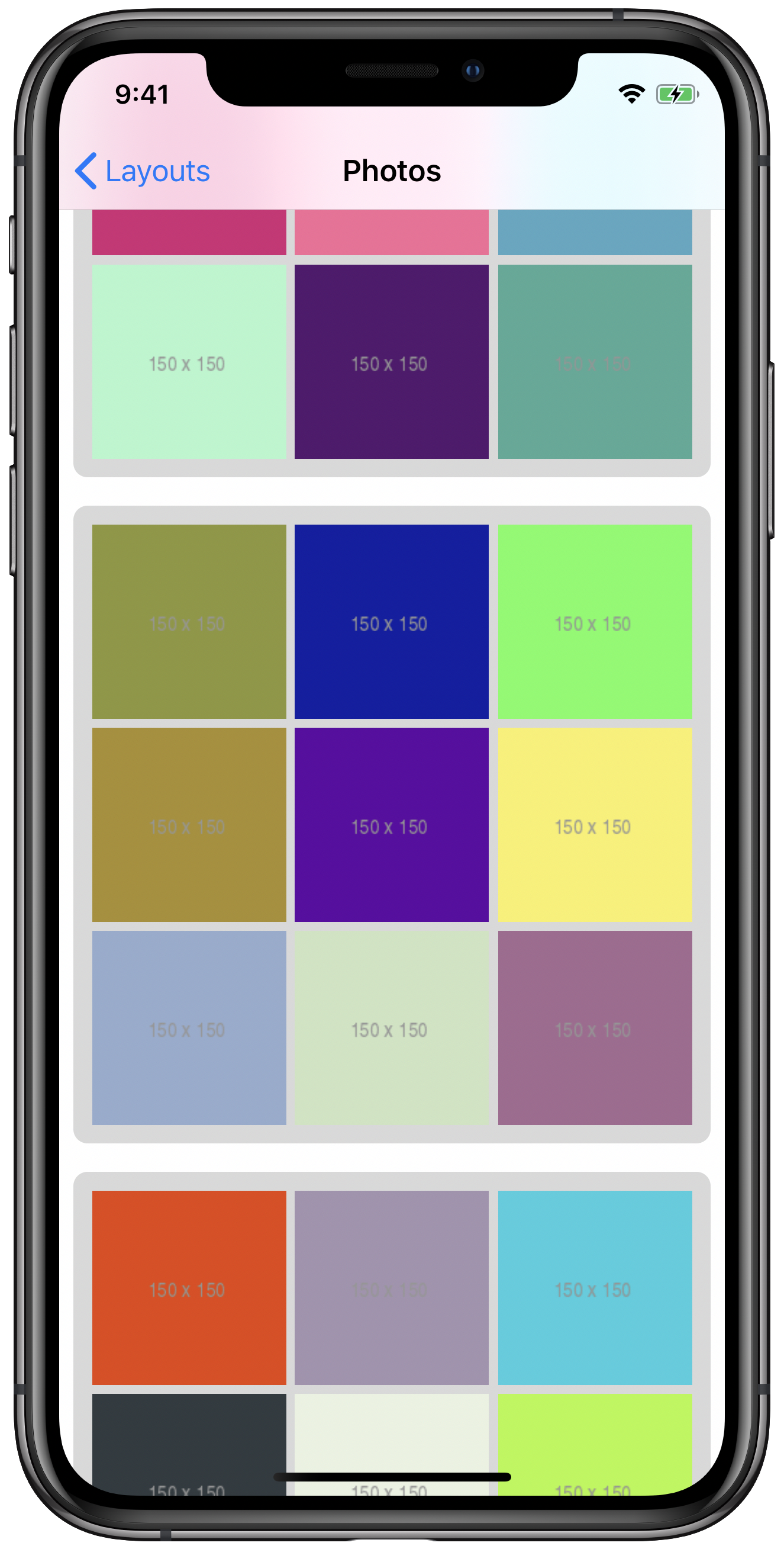 iPhone simulator screenshot showing a compositional layout with background decoration items