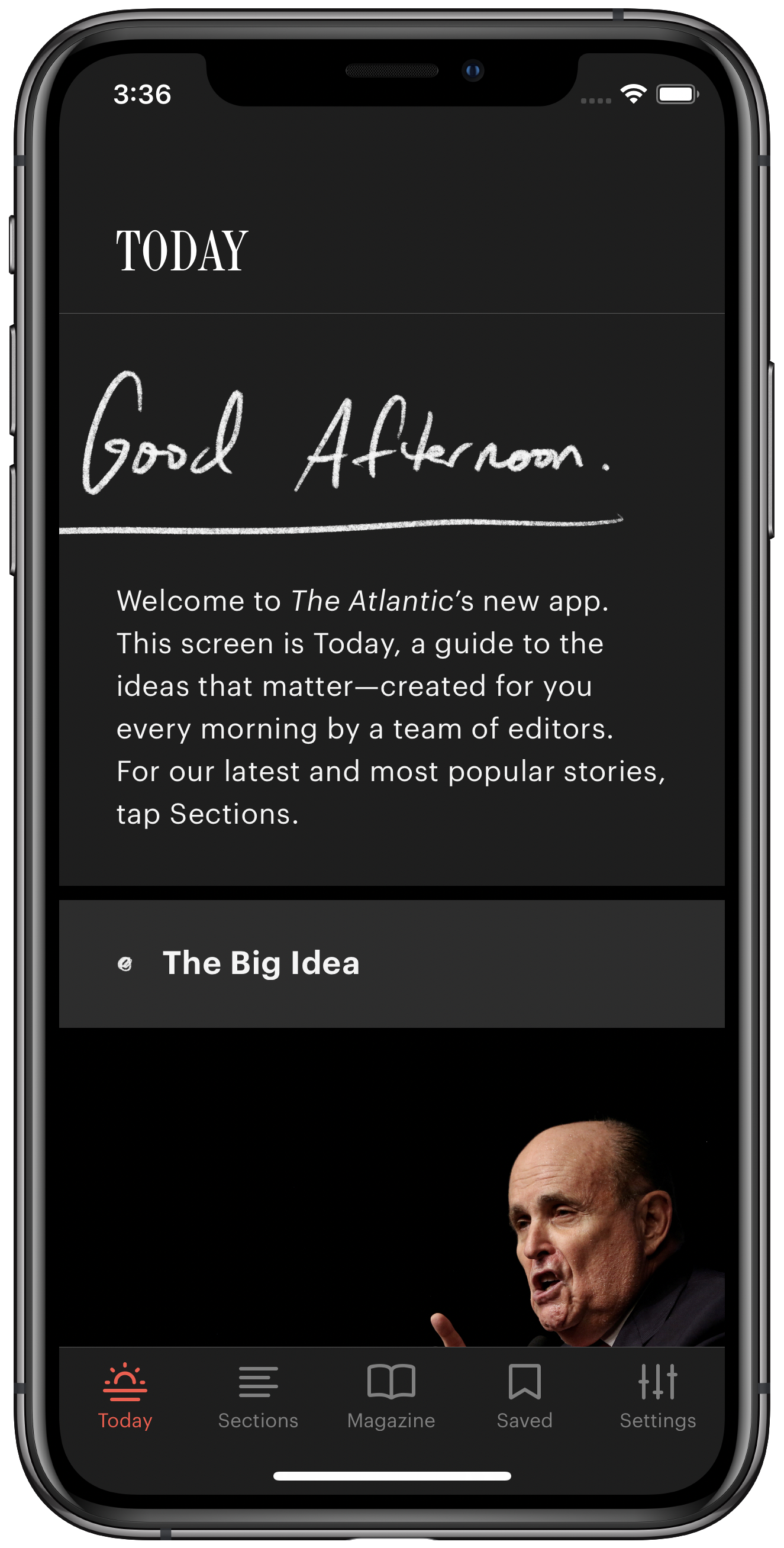 A screenshot of the new Atlantic app