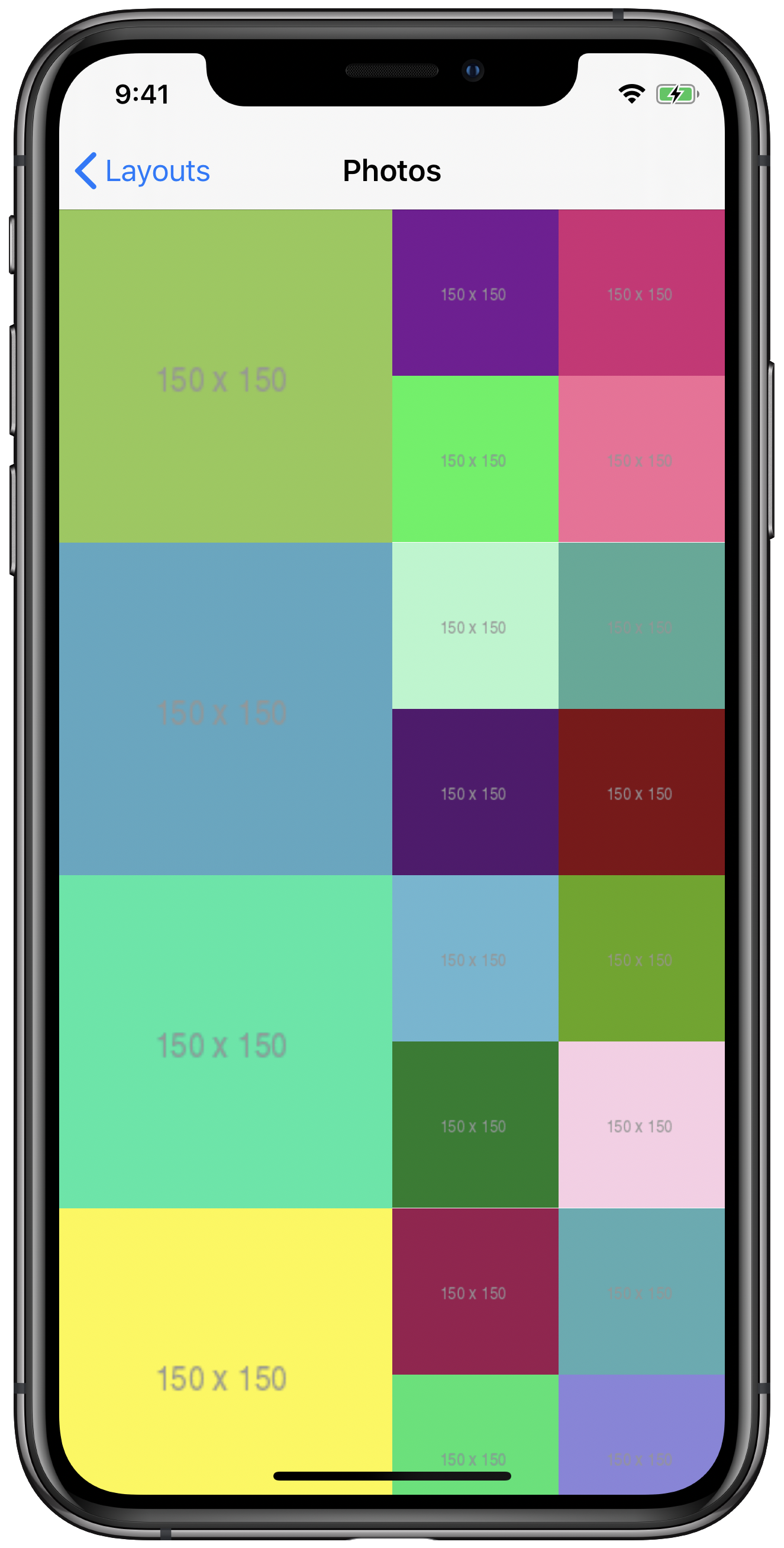 iPhone simulator showing compositional layout with multiple items and nested groups