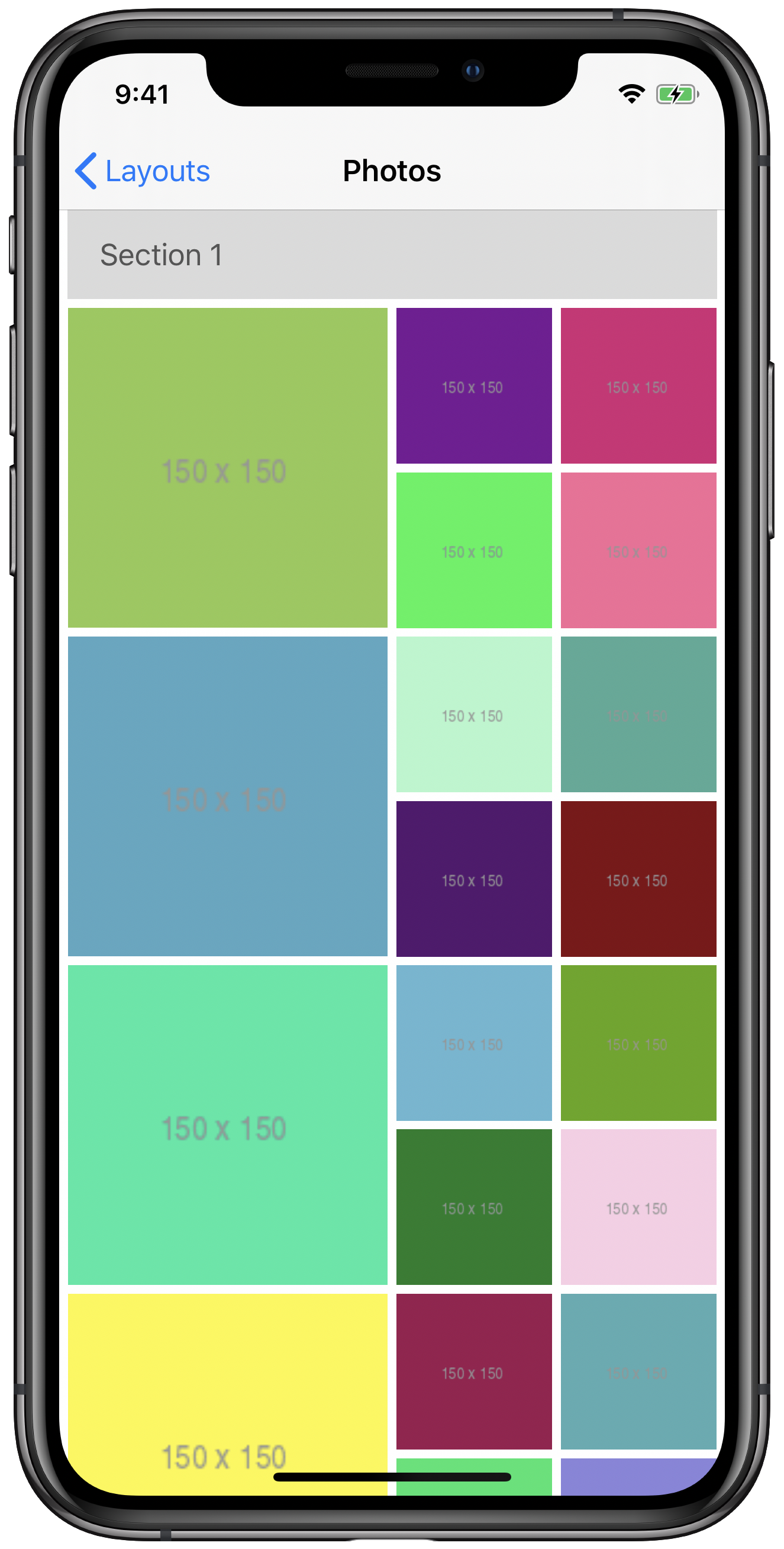 iPhone simulator showing compositional layout with nested groups with insets and section headers applied