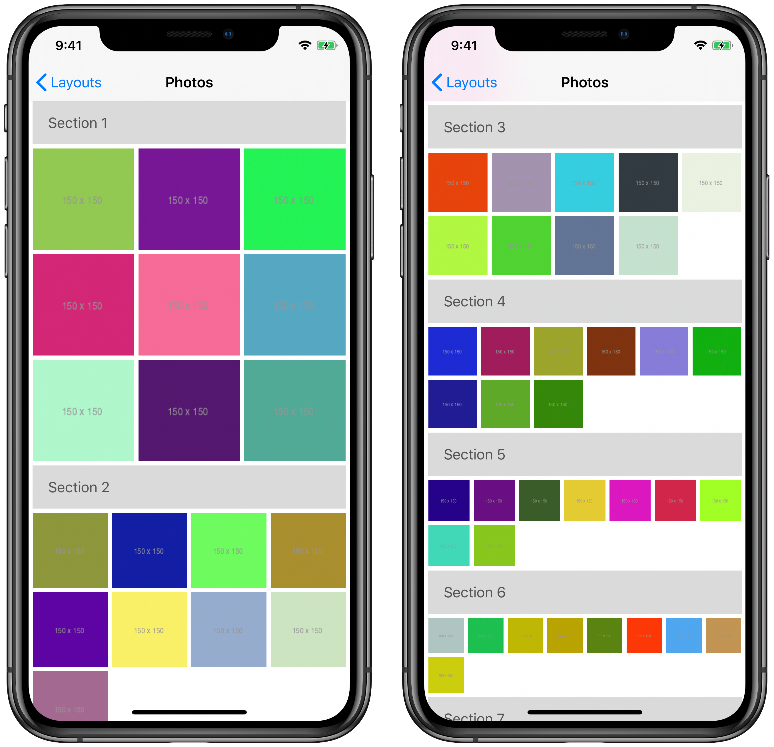 Two iPhone simulators side by side showing compositional layout with an increasing number of items per row in each section