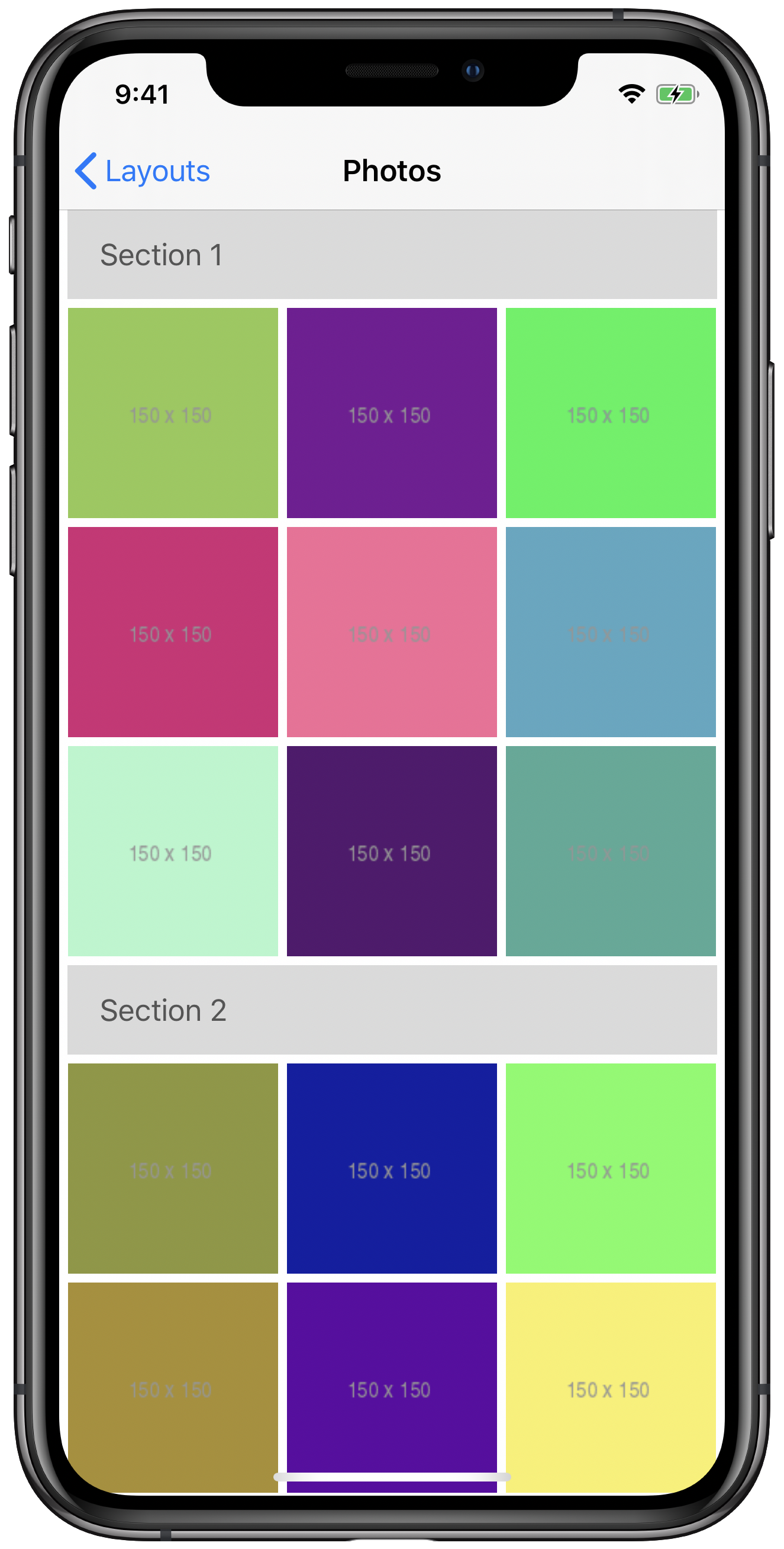 iPhone simulator screenshot showing a compositional layout with supplementary header items